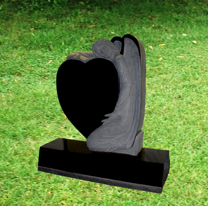 IMG 9 Carved Angel Monument with Heart and Bevel Style Base