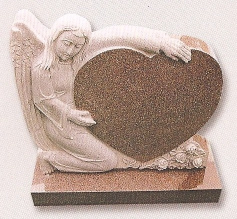 Solid granite angel embracing a heart cemetery monument