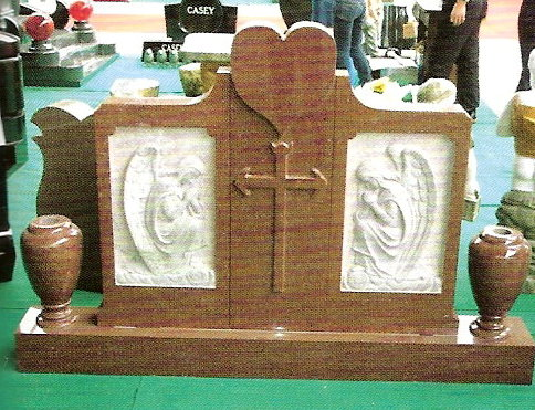 Grave Memorial with shape carved designs