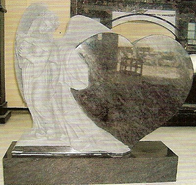 This Beautiful Upright Grave Memorial Features A Highly Detailed Angel  Playing A Harp And Standing Beside A Large Heart That Can Be Personalized  To Fit Your ...