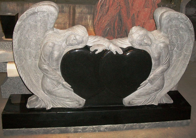 STM001 Pair of Angels with Heart Monument