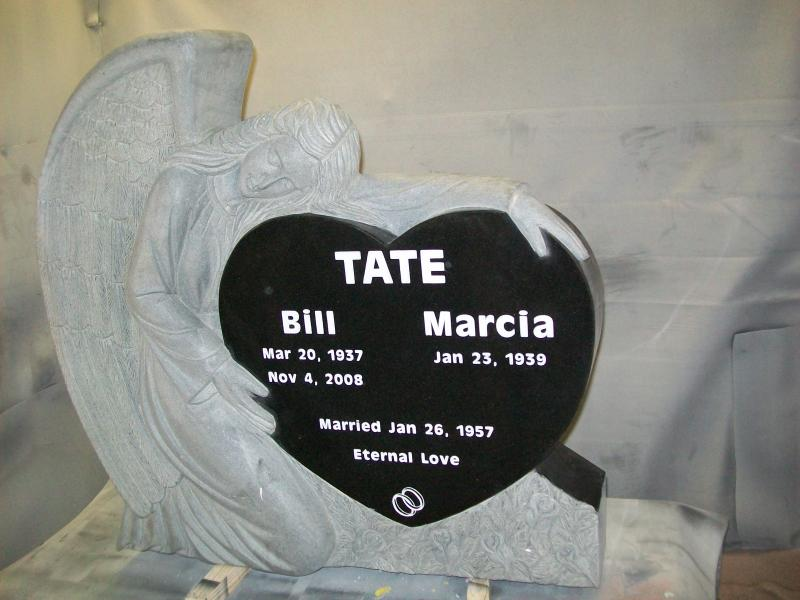 TFA02 jet black solid granite angel tombstone